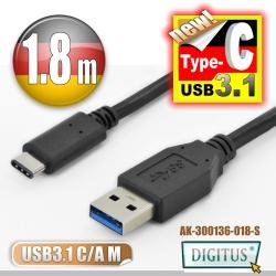 曜兆DIGITUS USB Type-C(公) 轉 A (公)互轉線-1.8公尺
