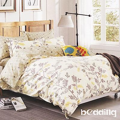 BEDDING-100%棉5尺雙人薄式床包涼被四件組-枝葉舞曲-白