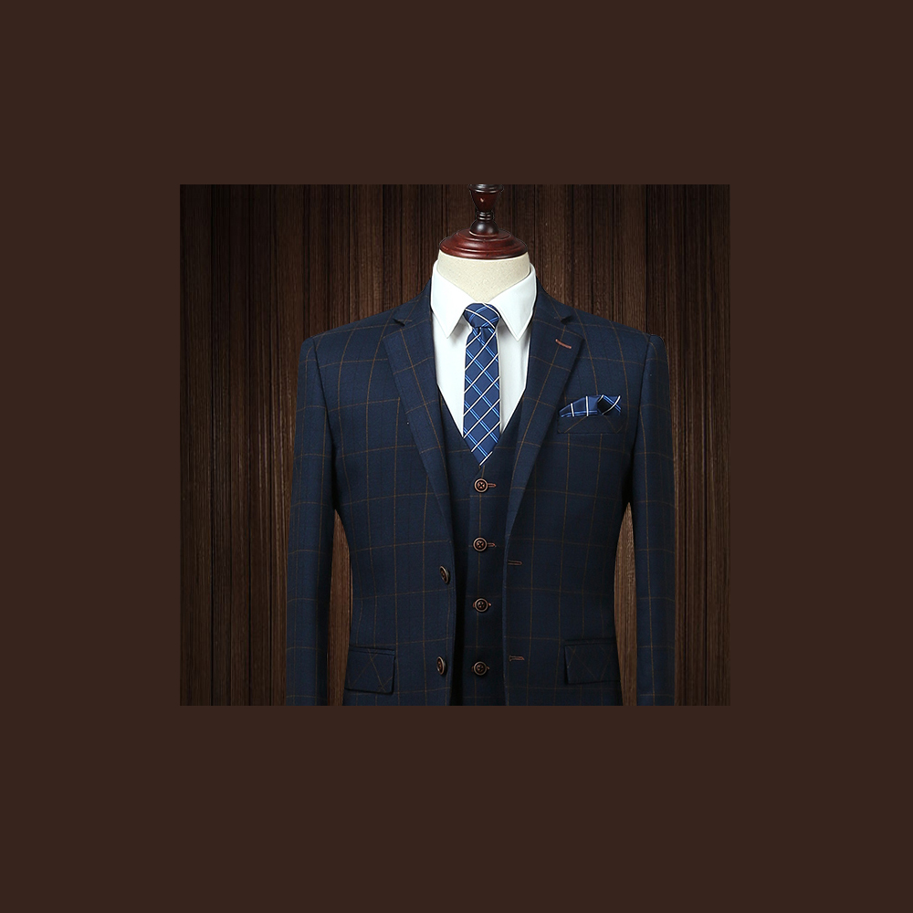 拉福  領帶6cm中窄版領帶拉鍊領帶(格紋藍)