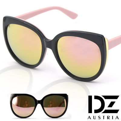DZ 微貓眼拼色 抗UV造型太陽眼鏡墨鏡(粉腳金粉膜)