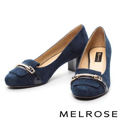 MELROSE-質感拼接金屬釦羊麂皮粗跟高跟鞋-藍