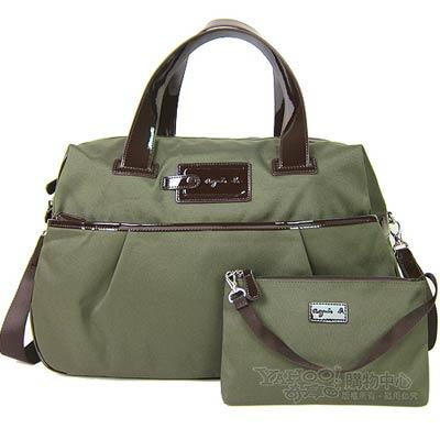agnes b. 釦子裝飾帆布旅行袋(大/墨綠)