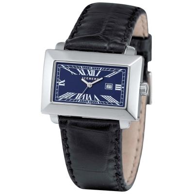 ICEBERG 經典方型羅馬刻度皮帶腕錶-藍/38mm