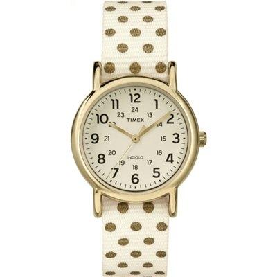 TIMEX 天美時經典復刻冷光Weekender系列帆布腕錶-米色面x圓點/31mm