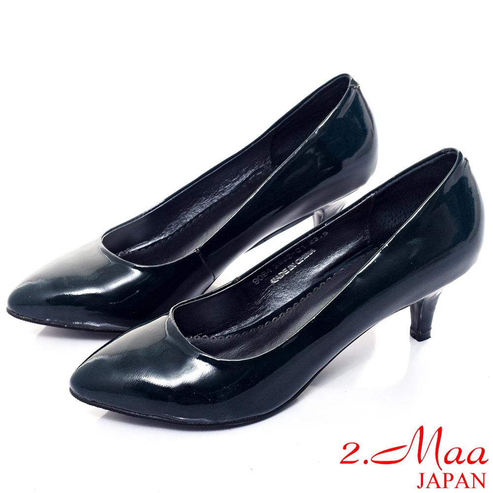 2.Maa時尚名媛-柔軟羊柒皮高跟尖頭包鞋--黑墨綠