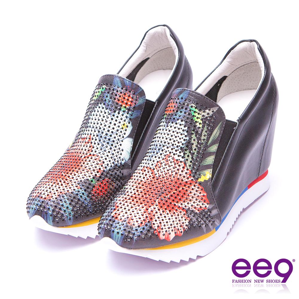 【ee9】青春熱力~異材質繽紛撞色拼接內增高休閒鞋*黑色