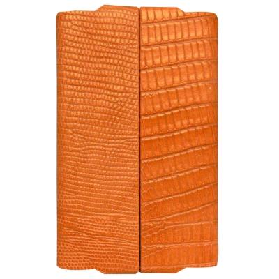 GIORGIO FEDON 1919  品味辦公 鱷紋長雙開名片盒-橘