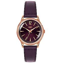 Henry London 優雅晶鑽真皮手錶-紫/34mm