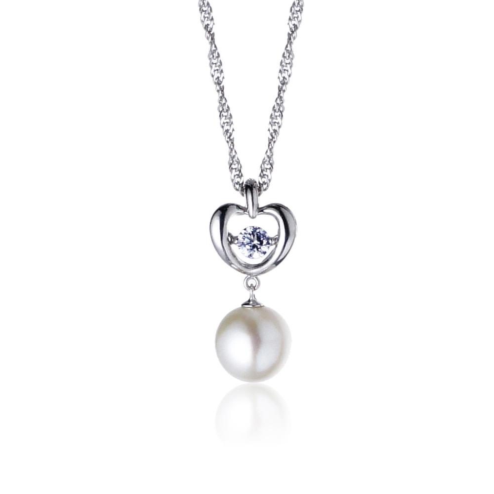 大東山珠寶 純銀晶鑽珍珠項鍊-迷戀之舞