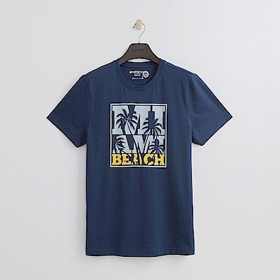 Hang Ten - 男裝 - BEACH手繪圖有機棉TEE-藍色