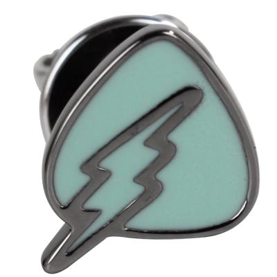 agnes b. 三角盾牌閃電穿式耳環-綠底銀邊(單隻)