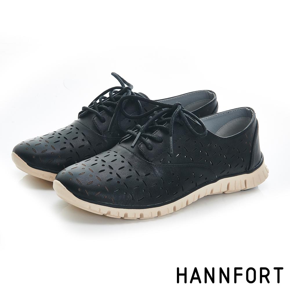 HANNFORT ZERO GRAVITY真皮雕花輕量牛津氣墊鞋-女-質感黑