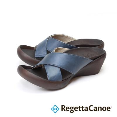 RegettaCanoe-交叉條帶楔型樂步鞋-海軍藍