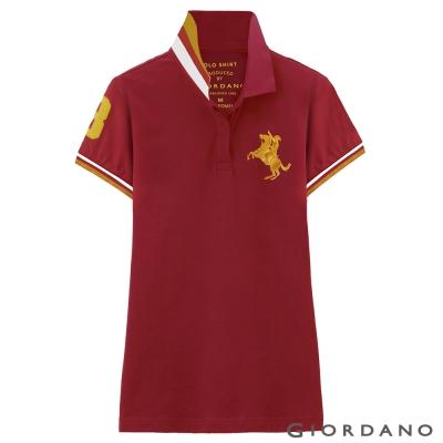 GIORDANO-女裝拿破崙3D刺繡彈性POLO衫-24-標誌紅