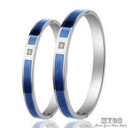 MYOS 珠寶白鋼情人手環 幸福永恆 (藍)