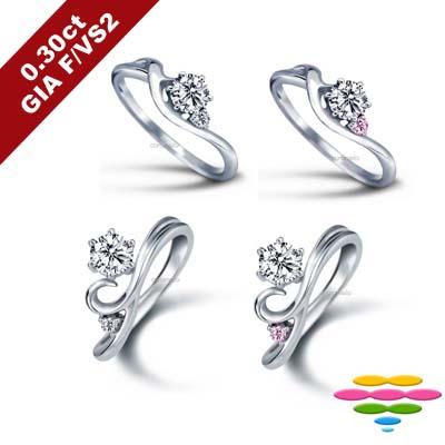 彩糖 GIA 30分鑽石 F/VS2+3EX+北極光極緻車工鑽石