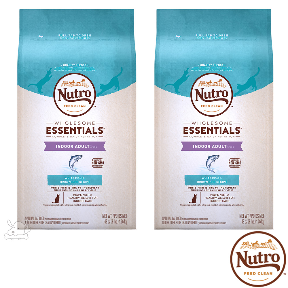 Nutro 美士 全護營養 室內成貓化毛配方(白身魚+糙米)3磅 X 2包