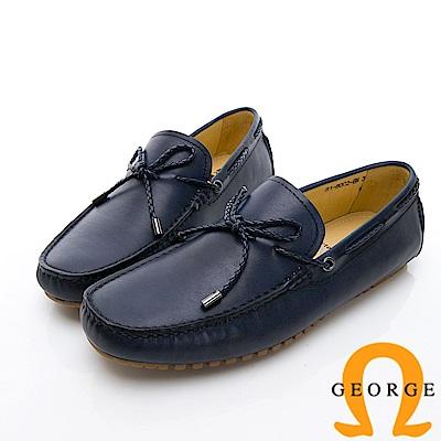 GEORGE 喬治-經典素面真皮休閒鞋-藍