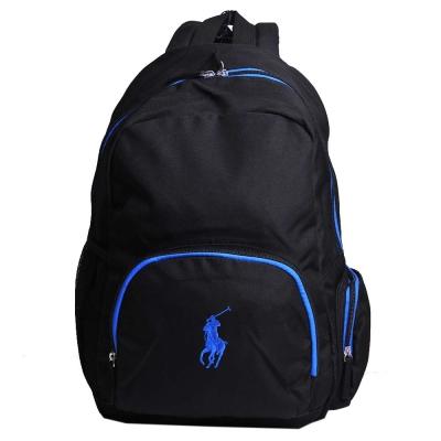POLO Ralph Lauren 品牌LOGO圖騰刺繡尼龍新款後背包(黑/藍馬)