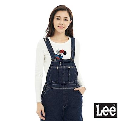 Lee 寬版牛仔吊帶長褲-女款-藍