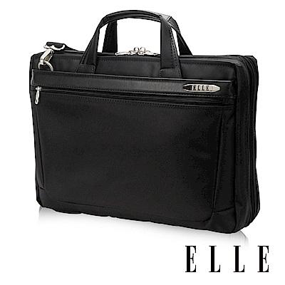 ELLE HOMME 紳士優雅搭配皮革公事包IPAD/14吋筆電置物層 側背手提兩用-黑