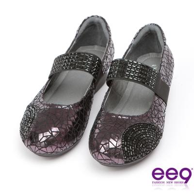 ee9矚目焦點-酷勁個性異材質靚亮併接鑲鑽伸縮飾帶休閒便鞋-紫色