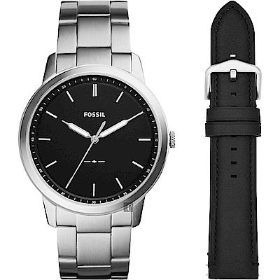 FOSSIL Minimalist 薄型簡約套錶(FS5451SET)-黑x銀/44mm