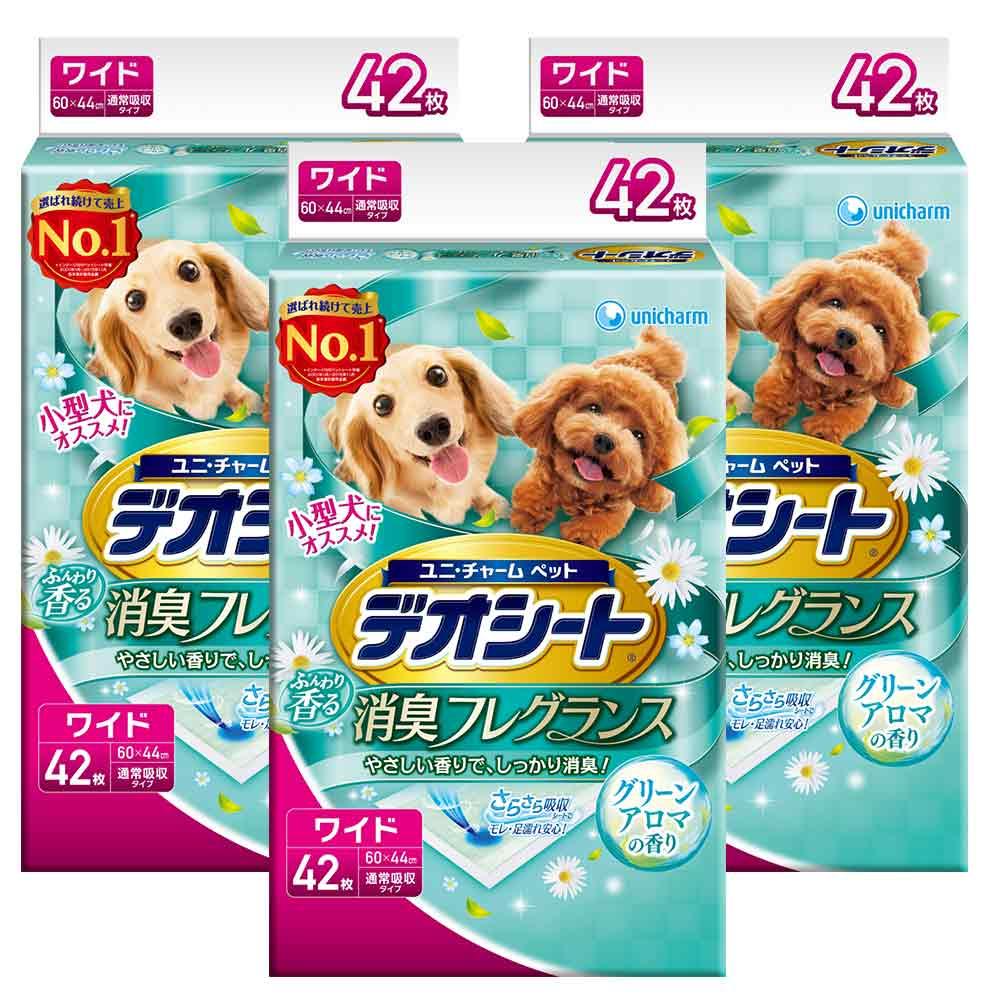 日本Unicharm消臭大師 小型犬狗尿墊 森林香 LL號 42片裝 x 3包