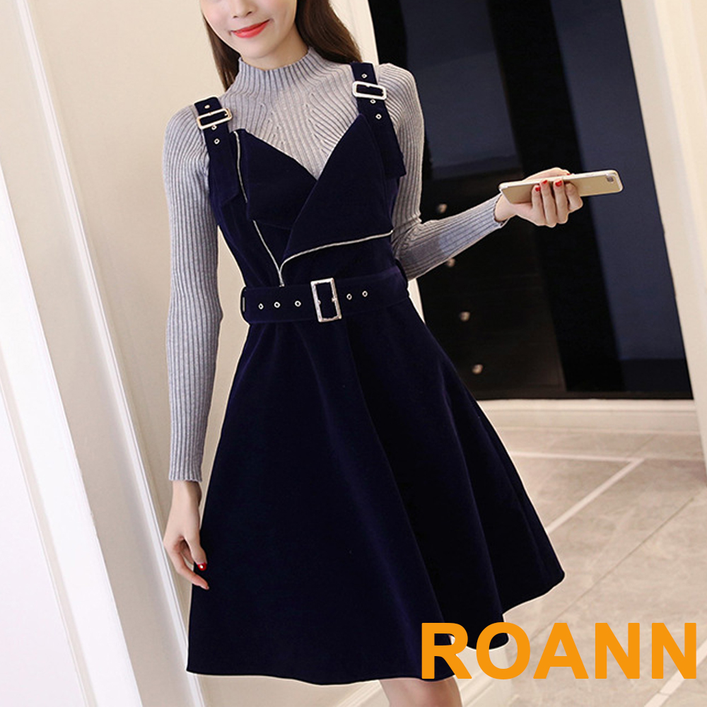 針織上衣+絲絨吊帶裙兩件套 (深藍色)-ROANN