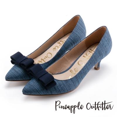Pineapple Outfitter 優雅女伶 雙層蝴蝶結尖頭中跟鞋-深藍