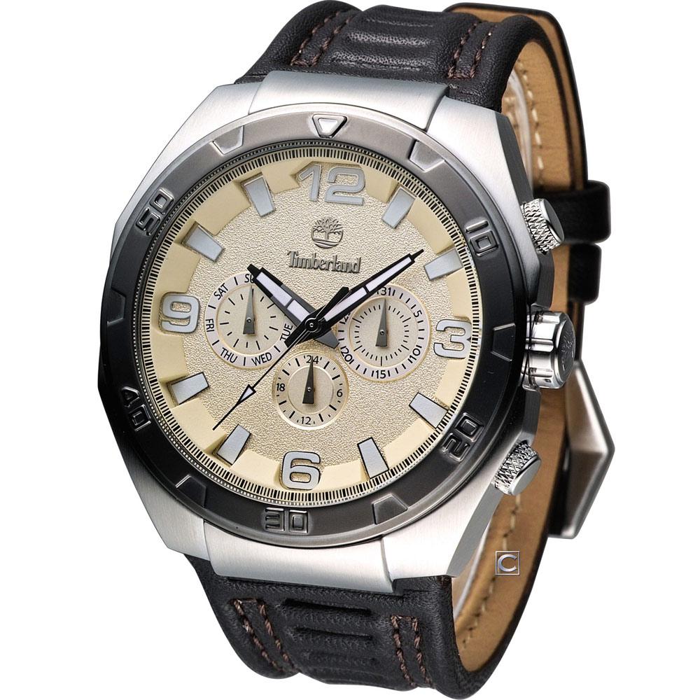 Timberland Warren 獵人風格時尚錶-香檳黃x咖啡色錶帶/46.5mm