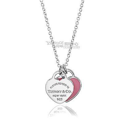 Tiffany&Co. 雙心墜飾925純銀粉紅琺瑯項鍊