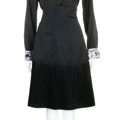CLASS roberto cavalli 黑色馬甲穿繩百褶羊毛及膝裙