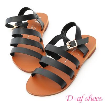 D+AF 自信百搭.簡約三條帶平底涼鞋*黑