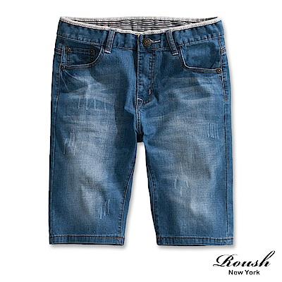 Roush 淺藍水洗刷色牛仔短褲