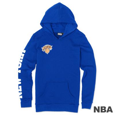 NBA-紐約尼克隊袖印花長版長袖連帽T-藍(女)