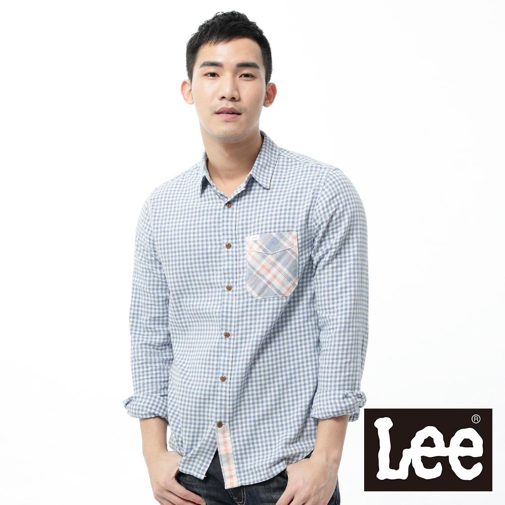 Lee 長袖襯衫 法藍絨拼接-男款(粉橘+藍格紋)