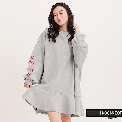 H:CONNECT 韓國品牌 女裝 - 蓬袖魚尾短洋裝-灰