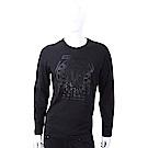 VERSACE VJ經典獅頭圖騰貼飾黑色長袖T恤