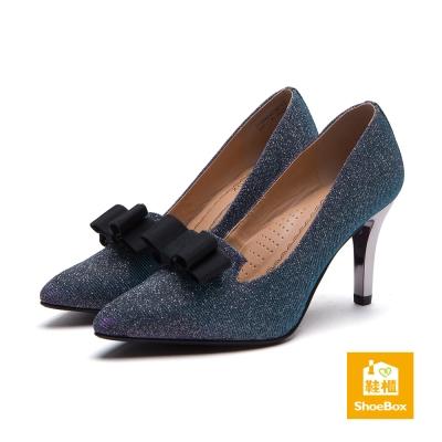 鞋櫃ShoeBox-高跟鞋-布面金蔥蝴蝶結尖頭高跟鞋-金蔥