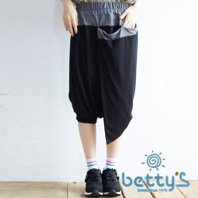 betty's貝蒂思 褲頭拼接垂墜感飛鼠褲(黑色)
