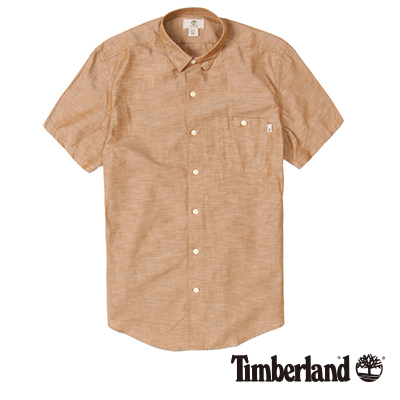 Timberland-男款淺咖啡單口袋素面短袖襯衫