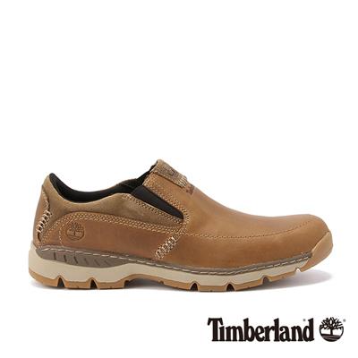 Timberland-男款咖啡色素面雙邊彈性帶休閒便鞋