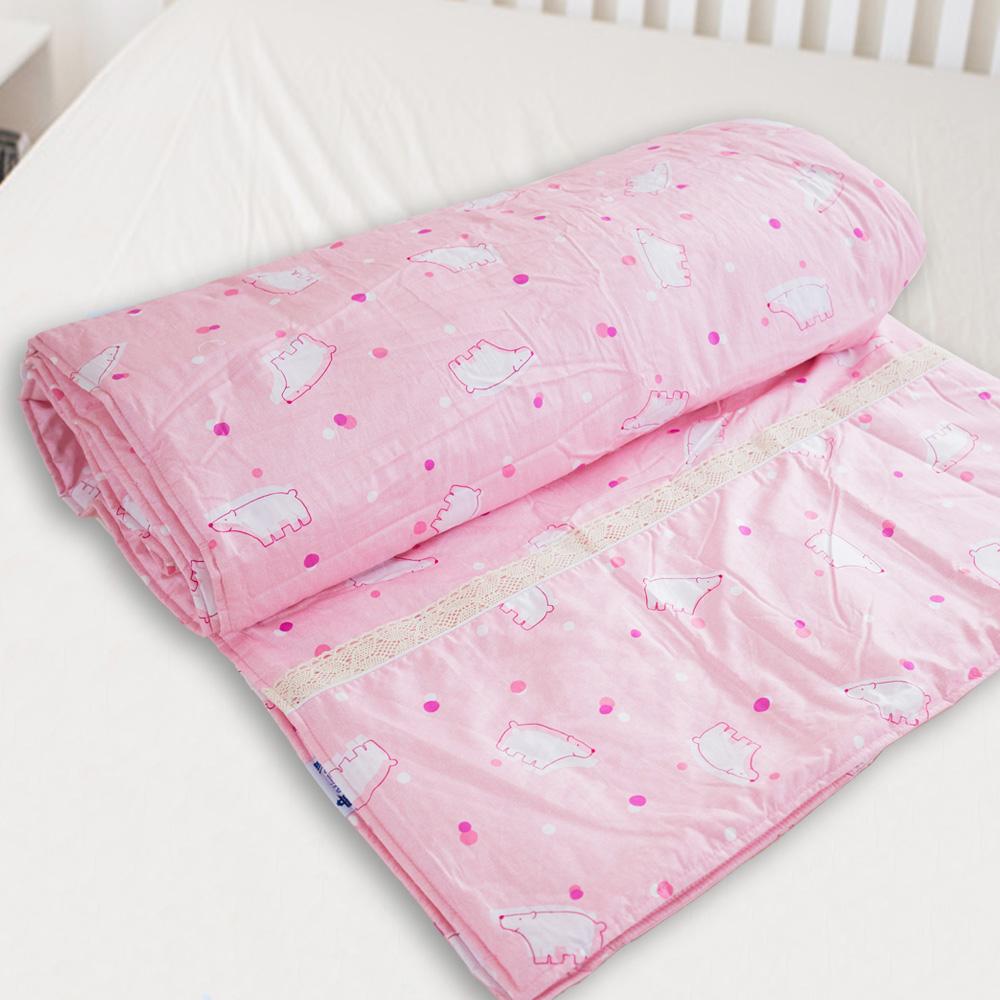 米夢家居-台灣製造-100%精梳純棉兩用被套-北極熊粉紅-雙人