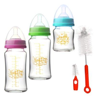 貝喜力克 防脹氣高耐熱寬口徑玻璃奶瓶組( 2 大 1 小)