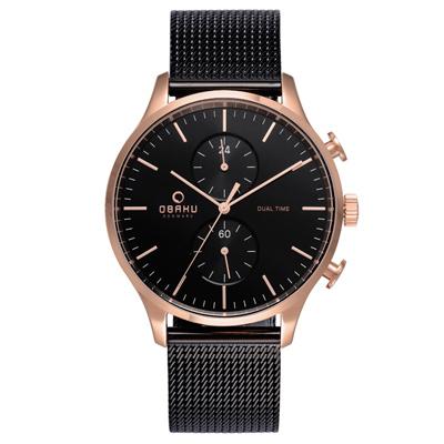OBAKU 流轉光年雙時區米蘭帶錶款-V196GUVBMB/42mm