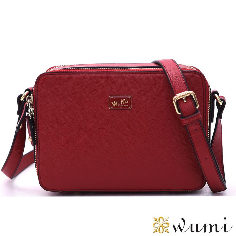WuMi 無米   塔希夏十字紋Mini斜背包  玫瑰紅(快)