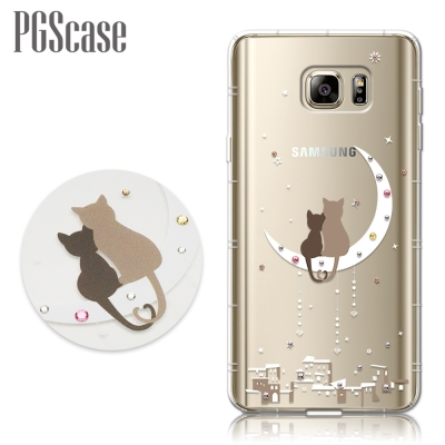 PGS Samsung Galaxy Note5 奧地利彩鑽防摔手機殼-相愛貓咪