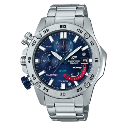 EDIFICE粗曠質感風螺絲釘造型賽車運動腕錶(EFR-558D-2)銀框X藍48.2mm