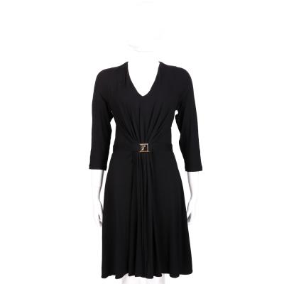 VERSACE 黑色金屬飾抓褶七分袖洋裝